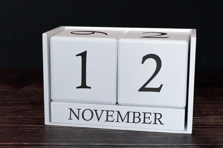 Business calendar for November, 12th day of the month. Planner organizer date or events schedule concept.