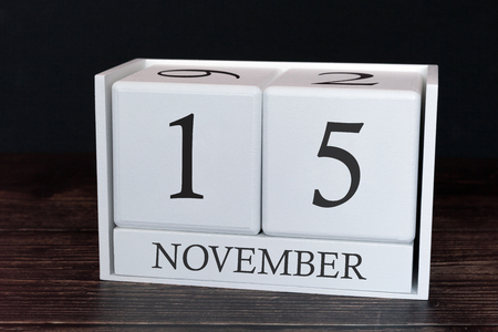 Business calendar for November, 15th day of the month. Planner organizer date or events schedule concept.