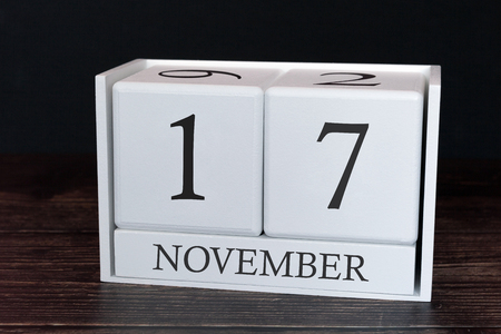 Business calendar for November, 17th day of the month. Planner organizer date or events schedule concept.
