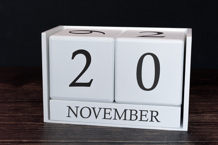 Business calendar for November, 20th day of the month. Planner organizer date or events schedule concept.