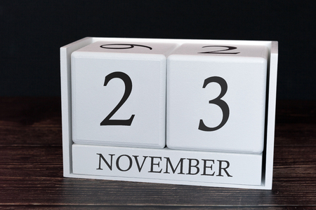 Business calendar for November, 23rd day of the month. Planner organizer date or events schedule concept.
