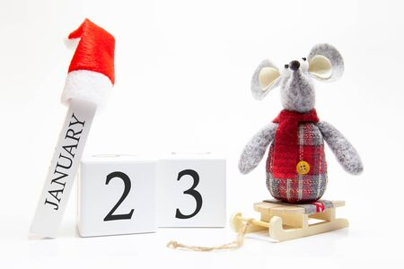 Wooden calendar with number January 23. Happy New Year! Symbol of New Year 2020 - white or metal (silver) rat. Christmas decorated.