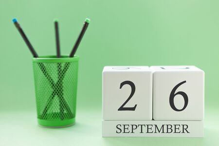 Desk calendar of two cubes for September 26 Stock Photo