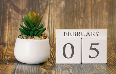 Flower pot and calendar for the snow season from 05 February. Winter time. Banco de Imagens