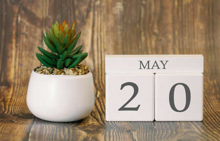 Flower pot and calendar for the warm season from 20 May. Spring time. Banco de Imagens