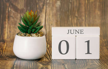 Flower pot and calendar for the warm season from 01 June. Summer time. Banco de Imagens