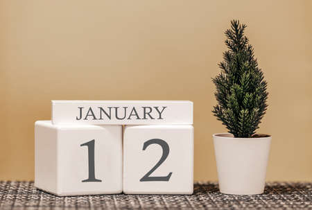Desk calendar for use in different ideas. Winter month - January and the number on the cubes 12. Calendar of holidays on a beige solid background.