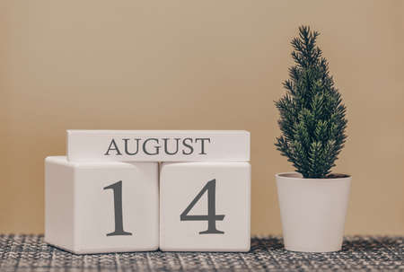 Desk calendar for use in different ideas. Summer month - August and the number on the cubes 14. Calendar of holidays on a beige solid background.