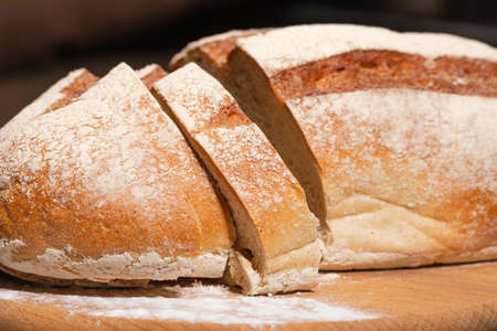 Close-up of traditional bread. Homemade baking concept.