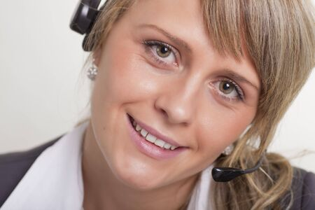 femal: Women with Headset Close-up Stock Photo