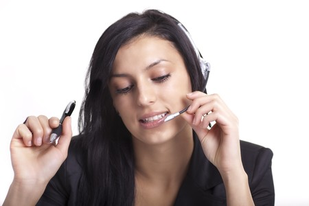 Woman with Headset Close-up Stock Photo - 8084416