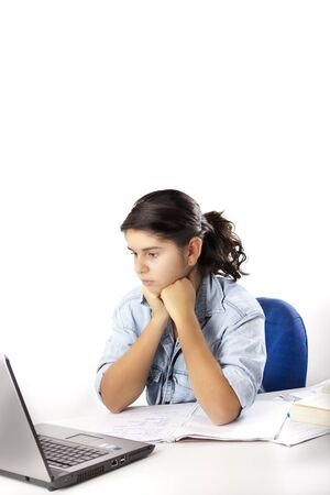 Young Teenage Girl works on Computer Stock Photo - 8911206