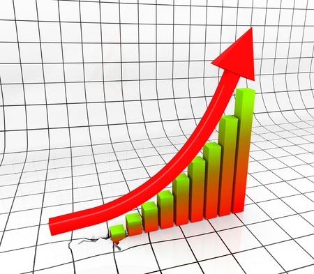 Chart with Arrow in 3D uprising Stock Photo - 8377315
