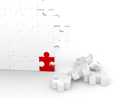 Puzzle Wall with one red piece Stock Photo - 8377309