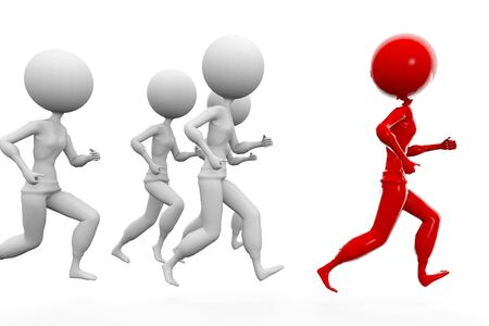 3d white humans running with a red human Stock Photo - 8544163