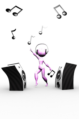 3d dance: 3d human dance with headphone and speakers Stock Photo