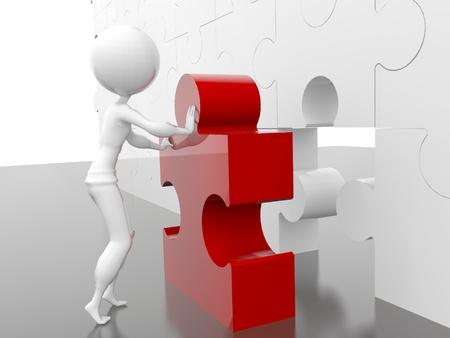 business figure building a puzzle photo