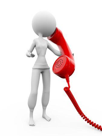 talk big: 3d human talk with big mobile phone Stock Photo