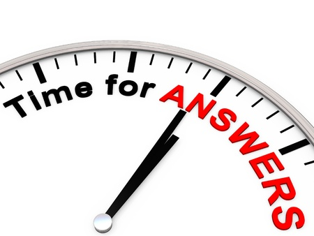 Time for answers on a clock Stock Photo