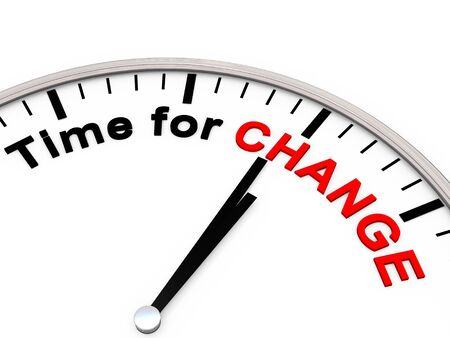 Time for Change on a Clock Stock Photo
