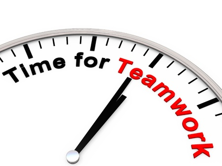 Time for Teamwork on a clock