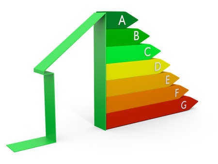 perfomance: Energy efficieny perfomance scale as 3D chart Stock Photo