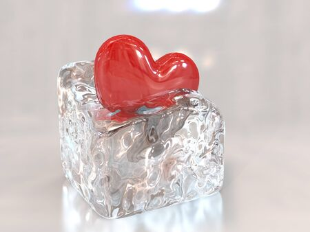 Red Heart in an ice cube Stock Photo - 8811107