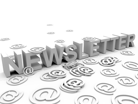 The word newsletter surrounded by alias @ signs Stock Photo - 8811304