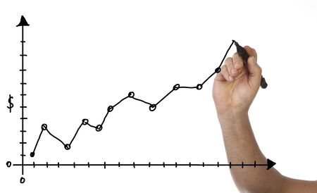 dataflow: Hand is drawing a business chart, isolated on white background