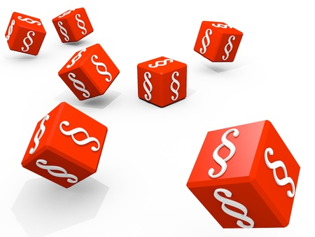 Symbols of paragraph on falling red cubes Banque d'images
