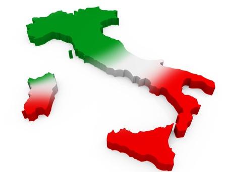 flag italy: Mapa 3D de Italia como la bandera italiana Foto de archivo