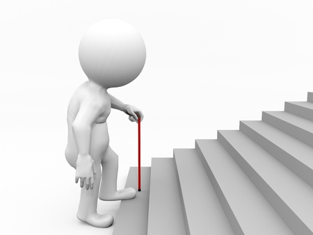 Old guy climbing up stairs Stock Photo - 9046283
