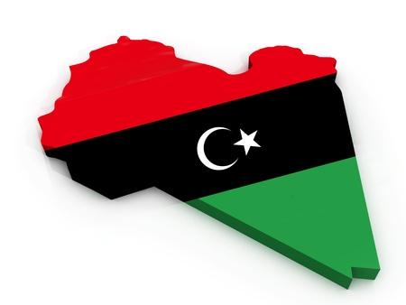 Map of Libya as flag