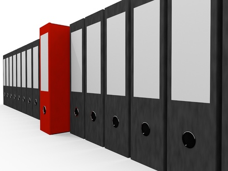 File Folders in a row, One red Folder stands out Stock Photo - 9309669