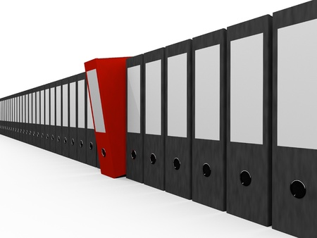 File Folders in a row, One red Folder stands out Stock Photo - 9309663