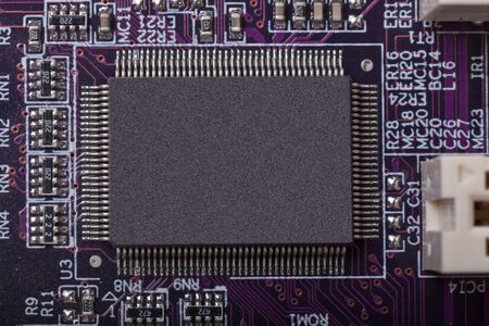 quarz: blank Chip and or CPU on Mainboard Stock Photo