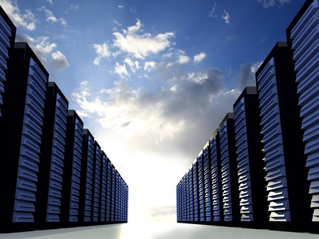 Serverracks with blue cloudy sky