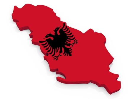 albania: Map of Albania with flag Republic of Albania
