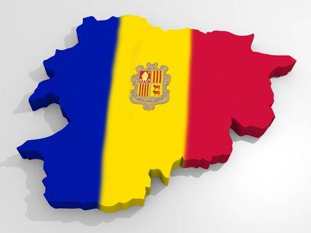 catolic: Map of Andorra with flag principality of Andorra
