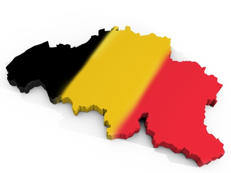 belgium flag: Map of Belgium with flag Kingdom of Belgium Stock Photo