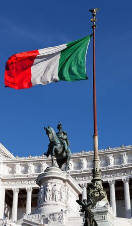 Italian Flag on a Monument Stock Photo - 10366524