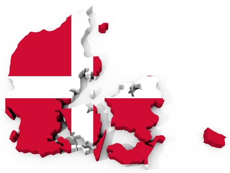 denmark: The Map of denmark with flag Stock Photo