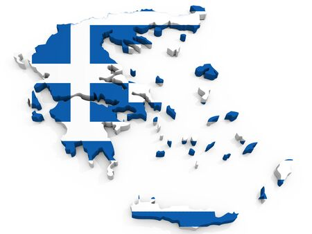 lamia: 3D Map of Greece with map, Hellenic Republic