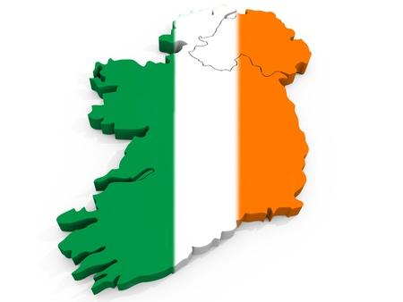 bandera de irlanda: Mapa 3D de Irlanda con la bandera de la Rep�blica de Irlanda