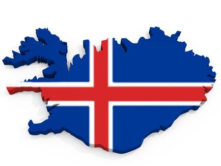 flag of iceland: Mapa 3D de Islandia con bandera de la Rep�blica de Islandia