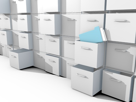 cupboard: file cabinet 3d on white floor Stock Photo