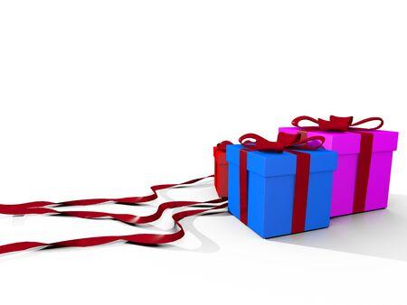 three gift boxes: tres cajas de regalo sobre fondo blanco Foto de archivo