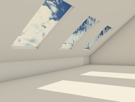 roof windows: 3d penthouse with cloudy sky Stock Photo