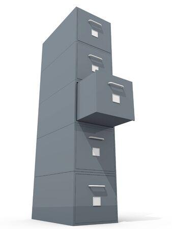 file cabinet 3d on white floor Stock Photo - 10940940