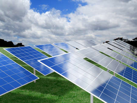 solarpower: Photovoltaic Panels over green grass